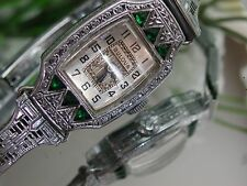 1929 Ladies Art Deco Emerald Bulova Watch ~ Miss Liberty~Emerald Filigree Band