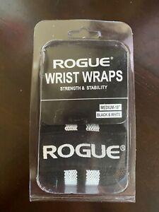 """NIB Rogue Fitness Wrist Wraps Medium 18"""" Black/White Lifting Crossfit"""