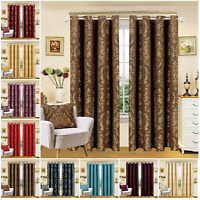 Luxury Jacquard Eyelet Curtains Semi Blackout Lined Bedroom Curtain + Tie Backs