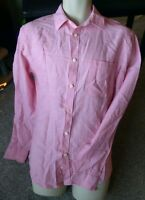 "MEN'S LINEN BLEND LONG SLEEVED SHIRT CHAMBRAY PINK SIZE S SUMMER 36-38"" CHEST"