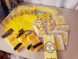 YELLOW PARTY PACK.. left overs from baby shower all new in pack except tulle str