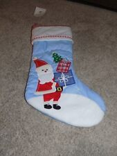 New Pottery Barn Kids Quilted Baby Blue Santa Stocking with Presents