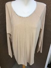 New Stunning Chico's Noelle Necklace Camel Heather Tee Top Size 3 = XL 16 18 NWT