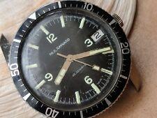 Vintage Paul Raynard Divers Watch w/Mint Explorer Style Dial,Patina,Runs Strong