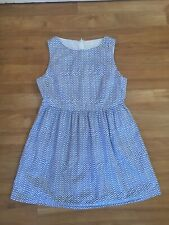 Gorman 10 Dress Cotton Summer White Blue Fit And Flare