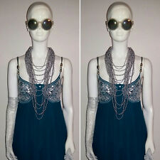 Bohemian/Hippy 100% Silk Green/Sliver Sequined/Beaded Dress by MONSOON. Size 10.
