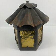 Vintage Outdoor Porch Light Fixture Metal Amber Glass Hexagon Sconce Mission MCM