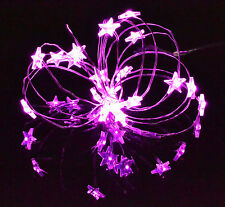 20 LED Star 2xAA Battery Operated Fairy Lights White/Pink/Blue Silver Wire 2m