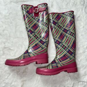 vtg sperry tall rain boots muck boots golashes pink plaid size 8 EUC