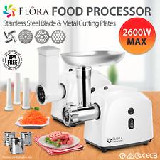 Flora White Electric Meat Mincer Slicer Shredder Kit Grinder Maker Sausage PLS