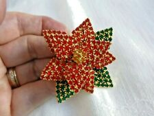 Fabulous Multi-Layered Poinsettia Pin Brooch Pave-Set Crystals Gold Plated