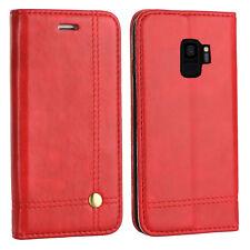 Hülle für Samsung Galaxy S9 DuoS SM-G960F/DS EDLE Tasche Buch Schutz Case ROT