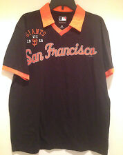 San Francisco Giants Polo Shirt with Johnny Collar - Faded Black color by G-III