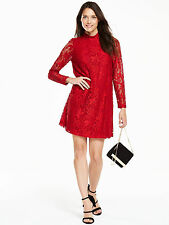 V by Very Long Sleeve Lace Swing Dress in Red Size 14 Brand New, With Tags