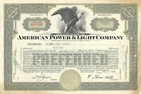 American Power & Light Company Common Stock Certificate 100 Shares 1940's