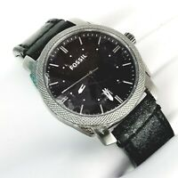 Fossil FS4774 Mens Stainless Steel Analog Black Dial Quartz Leather Strap Used
