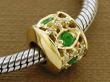 Bd099- Genuine 9ct Solid Yellow Gold Natural Emerald & Diamond Bead Charm