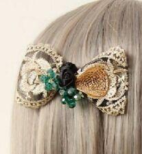 "Elegant green crystal rose 4.3"" barrette by HAIR ASIA"