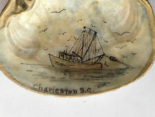 Vintage Oil Painted Clam Shell-Fishing Trawler-Charleston S.C.-Signed RSH