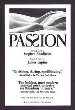 """Stephen Sondheim """"PASSION"""" Donna Murphy / Marin Mazzie / Jere Shea 1995 Flyer"""
