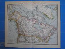 Antique map British north America Canada Alaska 1892 carte