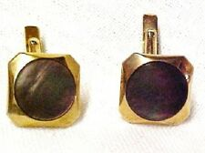 Vintage Swank Cuff Links Brown Mother of Pearl Iridescent Costume Gold Plated