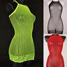 Sexy Bodycon Mini Dress Party Fishnet Sheer Sleeveless Clubwear See Through