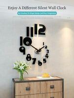 3D Number Large Silent Wall Clock Modern Design Quartz Watch Sticker Room Decor