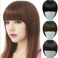 Women Girls Clip On Front Straight Hair Neat Bang Fringe Hair Extension 3 Colors