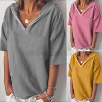 Women Oversized Loose Hoodies T-Shirt Tee Shirt Casual Summer Plain Blouse Tops