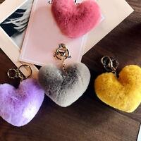 Women Heart Shape Key Chain Fluffy Soft Pompom Bag Accessories Key Ring Gifts
