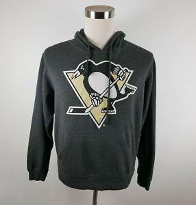 NHL Pittsburgh Penguins Mens Soft LS Dark Gray Hoodie Sweatshirt by J America M