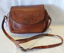 VINTAGE 1980s ~ OROTON Brown Tan Leather Shoulder Bag w Plaited Design
