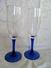 "BLUE Glass - toasting Champagne FLUTES  Glassware - 7 3/4"" - Stemware (a36    z"