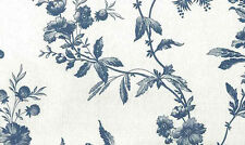 Blue Gray Floral Wallpaper Off-White Textured YORK RY3377 Double Rolls