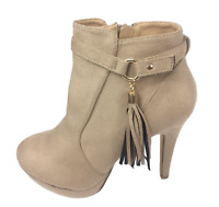 Womens Ladies Khaki Faux Suede High Heel Shoes Ankle Boots Size UK 8 New