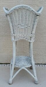 Vintage White Wicker Plant Stand Planter  29.5 Tall