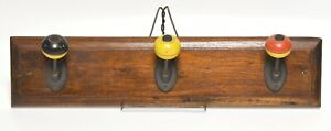 UNIQUE VINTAGE 3 WOOD BALL HOOK HAT OR COAT RACK