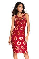 Abito a cono ricamato Scollo trasparente nudo Lace Embroidered Bodycon Dress S