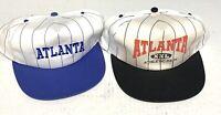 Lot of 2 Atlanta Vintage Snapback Hats Pinstripe Adjustable Blue Red Black