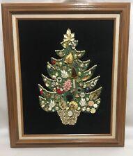 Vintage Brooch Pin Jewelry Pearl Framed Art Christmas Tree w/ Lights Black Felt