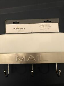 Threshold Mail Holder with Key Hooks - White with Satin Nickel Finish - NEW!