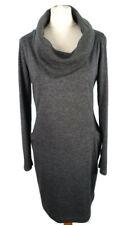 M&S Size 10 Charcoal Grey Roll Neck Polo Jumper Dress Pockets Minimalist Winter