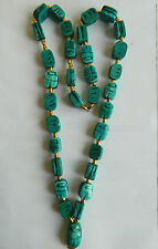 """Egyptian Handmade Ceramic Scarab Green Necklace Unique 14.5"""" Long"""