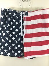 New Men's Faded Glory American Flag Swimming Trunks Swimwear Pants Size 3XL