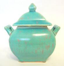 Turquoise Chinese Rectangular Pottery Jar 7 Inches Aged Look