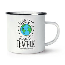 World's Best Teacher Retro Enamel Mug Cup - Funny Student Gift Present School