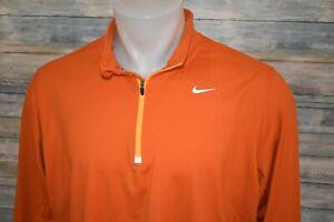 NIKE RUNNING XL Men's L/S Poly Spandex 1/4 Zip Pullover Orange