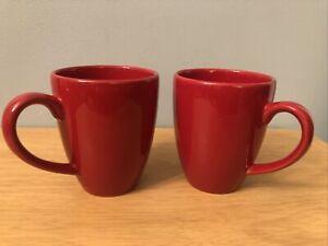 Set Of 2 Waechtersbach Germany Fun Factory Glossy Cherry Red Coffee Cocoa Mugs