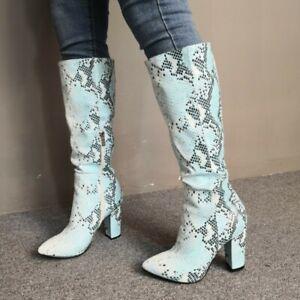 Europe Pattern Snakeskin Print Women Mid Calf Riding Boots Side Zip Block Heels